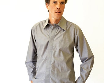 Men STRIPED SHIRT X I Y, stripes, with screen print, khaki, gray, hidden buttons