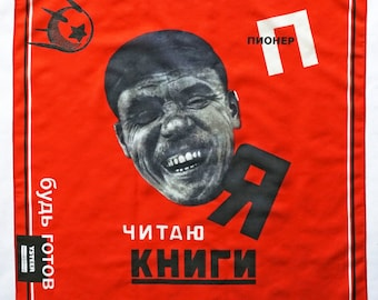 I READ BOOKS scarf, cotton and silk, Bandana, constructivism, Communism, Revolution, digital print, Soviet Union