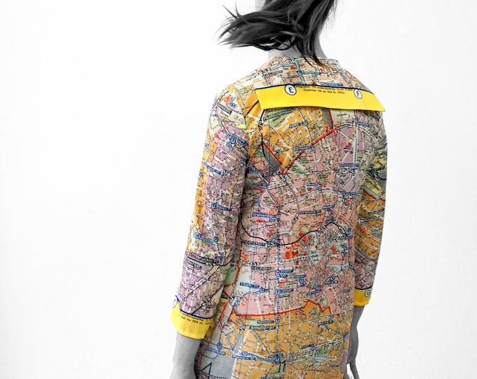 BERLIN Blouse with 3/4 sleeves, sailor collar, GDR Map 1960s