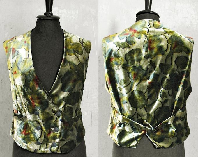 VEST VELVET, 2-row, double breasted, gold, silver, iridescent, pattern, flower