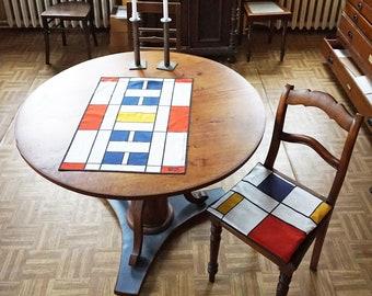 BAUHAUS TEA TOWEL Table Runner Place Mat, Dish Cloth, De Stijl, Constructivism Art, Cotton