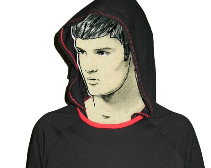 HOODY T-SHIRT black, red, cotton, jersey, hoody, raglan, long sleeves