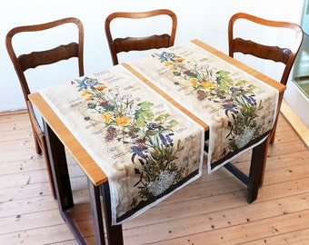 "table runner ""medical plants"" hand drawing, Lavender Ginkgo Sage Mistletoe Ivy Thyme St. John's wort Valerian Camomile Arnica Marigold"