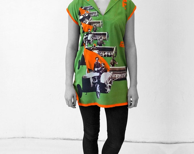 DRESS TUNIC Collection PIONEER  Viscose, Communism, Socialism, digital print, Soviet Union, workers posters, propaganda, 1920s to 1940s