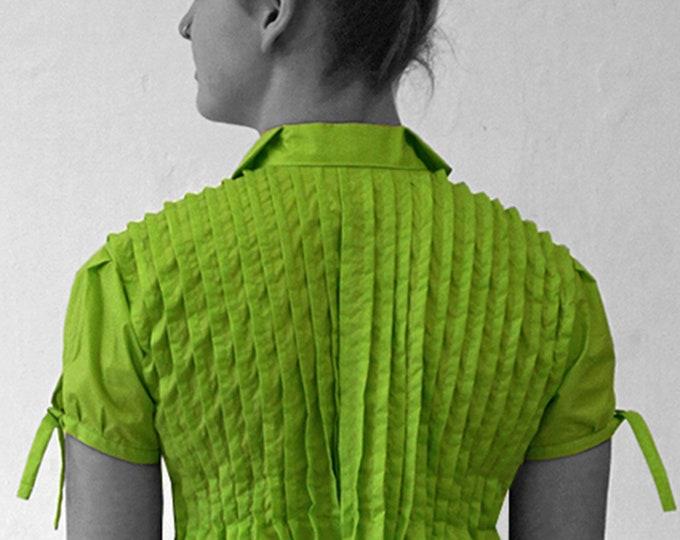 PLEATS DRESS, black, white, green, fold, empire, cotton, Wedding, tucks, 18th century, bride, plissee, knee length, high waist, a line