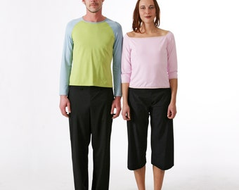 CAPRI PANTS in different fabrics, rounded waist and Seam