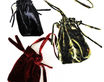 VELVET POUCH in different fabrics, silk velvet, cotton velvet, silk