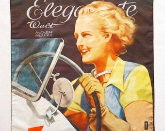 "ART DECO BANDANA ""Woman in the Car"" Scarf, cotton and silk, Art Nouveau 1930s"