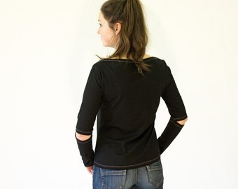 T-SHIRT with Sleeves opening, black, white