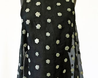 SILK TOP layered top, embroidered