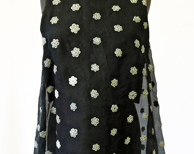 SILK TOP layered top, embroidered, lace, black, Flowers, translucent, transparent, layering top