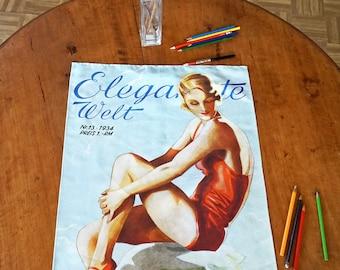 ART DECO Tea Towel, Table Runner, Placemat, Organic Cotton