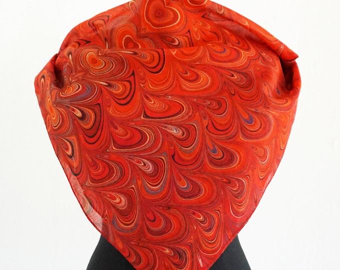 ART DECO SCARF cotton and silk, Art Nouveau, digital print, 1920 - 1940, red, orange