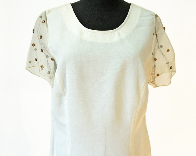 embroidered BLOUSE beads, silk, linen, Lace, beige, cream, translucent Top, wedding