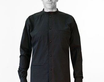 Men Shirt with STANDUP COLLAR + POCKETS in different fabrics