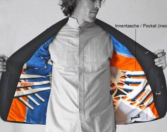 PIONEER  Slim Fit Coat, Sport Coats, Jacket, Wool, Communism, digital print, Soviet Union, workers posters, propaganda, 1920s to 1940s
