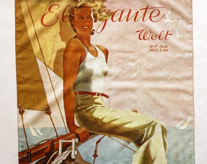 "ART DECO BANDANA ""Woman on Boat"" Scarf, cotton and silk, Art Nouveau, digital print, 1930s"