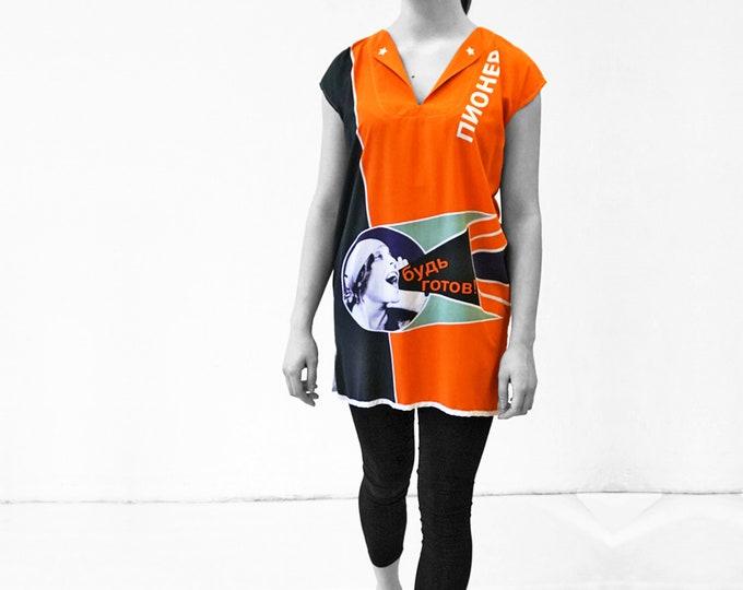 short printed dress, long colored tunic, sleeveless