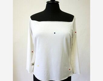 SALE! T-SHIRT with points, 3/4 sleeves, print, blue, orange, green, big neckline