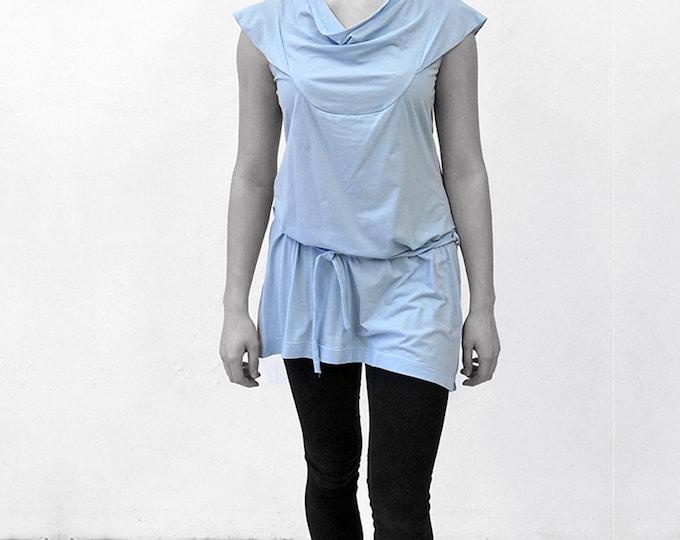 Kleid mit Falbe und Gürtel, Wasserfall- Kragen, kurz, in verschiedenen Farben, Falbel
