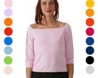 T-SHIRT with big Neckline in many colors, 3/4 sleeves, Off Shoulder, Dekolleté, custom order