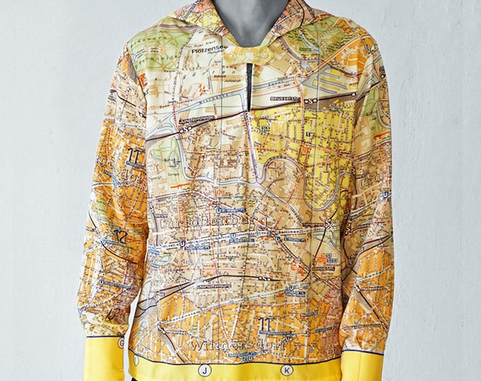 PIONEER Shirt with long Sleeves, sailor collar, Berlin Map, card, plan Berlin, Socialism, digital print, Mauerbau