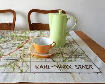 Karl- Marx- Stadt TABLECLOTH, Picnic Blanket, Beach Towel, Cotton, digital print, communism, 1960, G.D.R., socialism, Karl Marx