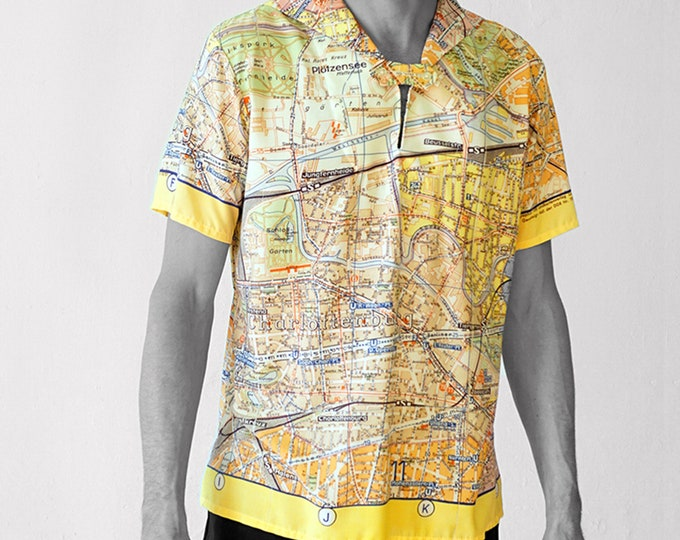 BERLIN Shirt with short Sleeves, sailor collar, digital print, Men Seaman Shirt