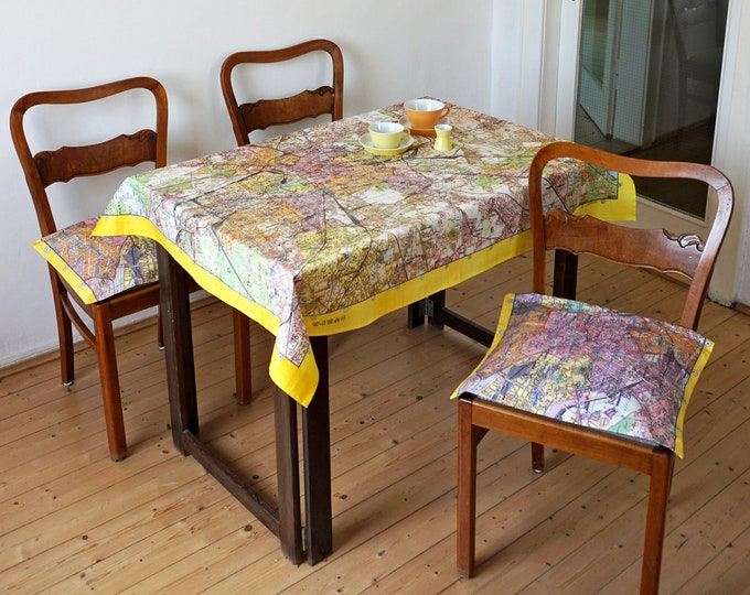 BERLIN MAP Tablecloth, table runner, Picnic Blanket, Beach Towel, digital print, 1960 year, socialism, berlin plan