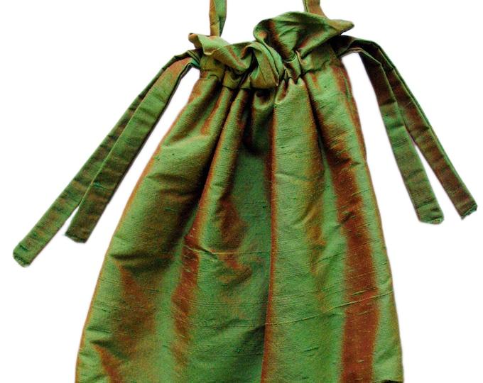 SILK POUCH Art Deco, Art Déco, Art Nouveau, iridescent, shiny, green, brown, handbag, glossy