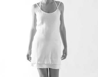 crashed DRESS white, short, Plissee, Jersey, slim, Crepe de Chine