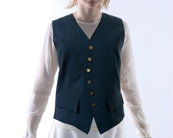 SALE! UNIFORM VEST, 19th century, wool, silver buttons