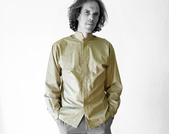 MEN SHIRT stand-up collar in different colors, with screen print, Mao, nehru, concealed closure
