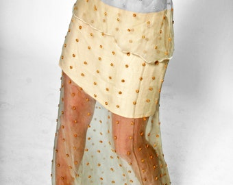 BEADS-SKIRT embroidered, layered, silk, lace, broderie, wedding