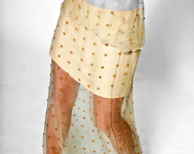 SKIRT embroidered, layered skirt, Lace, broderie, beige, sand, linen, beads, wedding