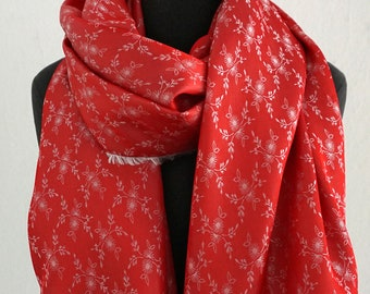 JACQUARD SCARF iridescent, Fray, changierend, shawl with woven small flowers, red, creme, white