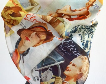 "ART DECO SCARF German Magazine ""Elegante Welt"" Silk, Cotton, Art Nouveau, digital print, 1930s"