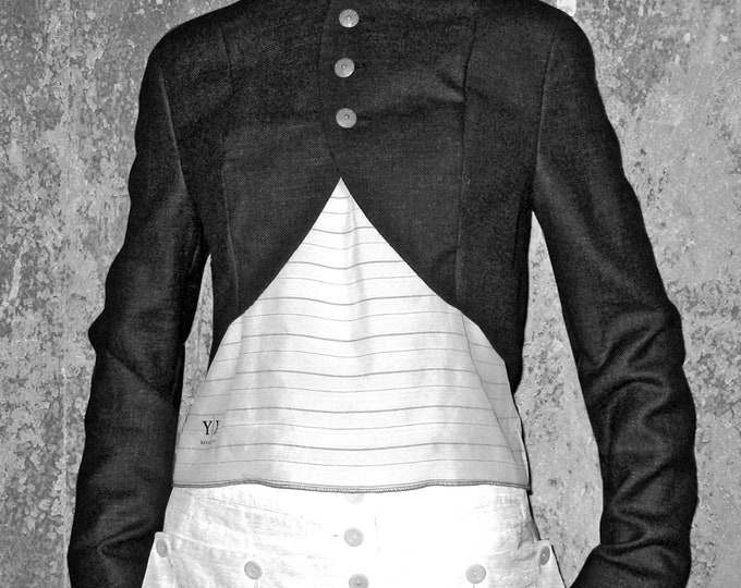 BOLERO in various Colours, stand up Collar, Wool, Cotton, silver buttons, vintage buttons