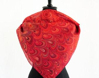 ART-DÉCO SCARF cotton and silk, Art Nouveau, 1920s - 1940s red orange