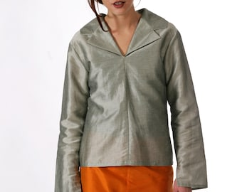 BLOUSE with LAPEL and HOOD in different fabrics, silk, linen, cotton, stripes, Slip Form