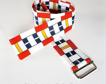 "FABRIC BELT ""BAUHAUS"" organic cotton, De Stijl, Constructivism, Concrete Art, primary colors"