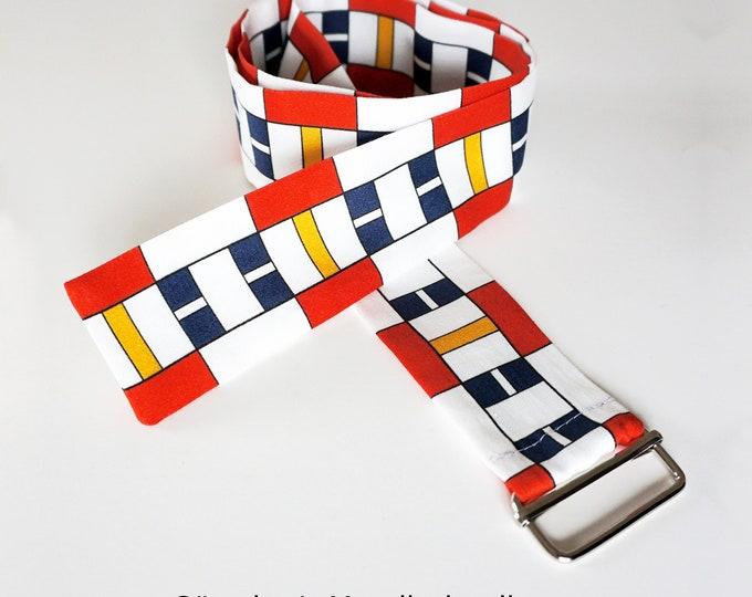 """FABRIC BELT """"BAUHAUS"""" organic cotton, digital print, De Stijl, Constructivism, Concrete Art, primary colors"""