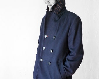 WINTER CABAN Wool Felt, Cashmere, Short Coat, double row, 2-row, blue, black