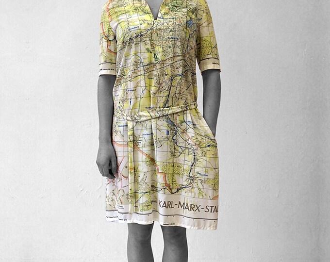 KARL MARX STADT Dress with Belt, 3/4 Sleeves, sailor collar, Socialism, digital print