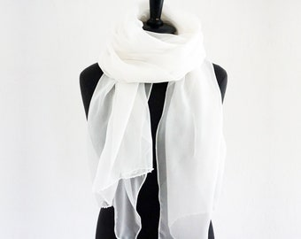 SILK CHIFFON SCARF embroidered with beads, translucent, long shawl