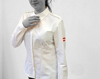 PIONEER BLOUSE shoulder flap, concealed buttons, G.D.R. uniform, long sleeves, with Print, white, black, red