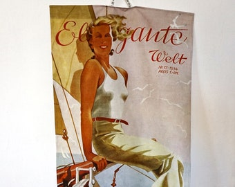 "ART DECO ""Woman on Boat"" Tea Towel, Table Runner, Placemat, German Magazine ""Elegante Welt"", Organic Cotton, digital print, 1930s"