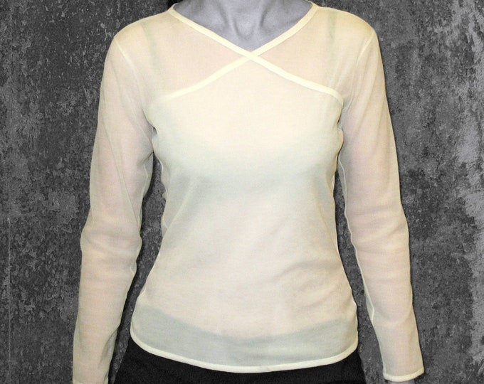 JACQUARD T-SHIRT Jersey, creme, beige, flower, lingerie, long sleeves, wrapped top