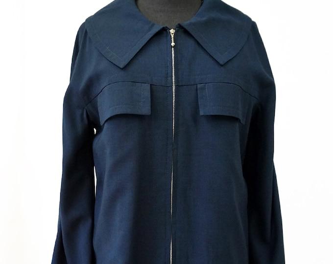 JACKET KIMONO with zipper, wool, pockets, silver, dark blue, short