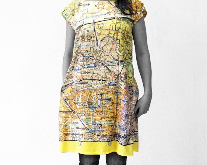 PIONEER Berlin, Dress, A-line, 1960 er Jahre,map, card, plan, Tunic, Viscose, Communism, Socialism, digital print,